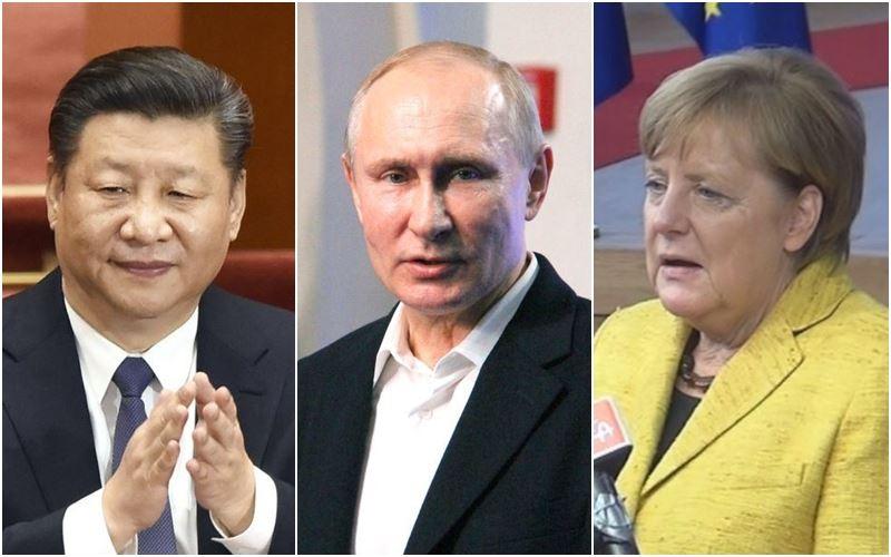 蒲亭(中)順利當選連任,中國國家主席習近平(左)19日表示願和莫斯科合作,德國總理梅克爾(右)的發言人則說德俄關係面臨挑戰。(左、中為共同社提供,右圖為中央社檔案照片)