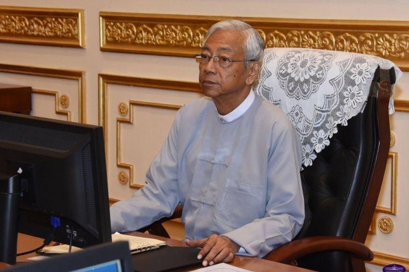 緬甸文人總統廷覺(圖)已請辭,且立即生效,軍方任命的副總統明穗將出任代理。(圖取自緬甸總統辦公室網頁www.president-office.gov.mm)