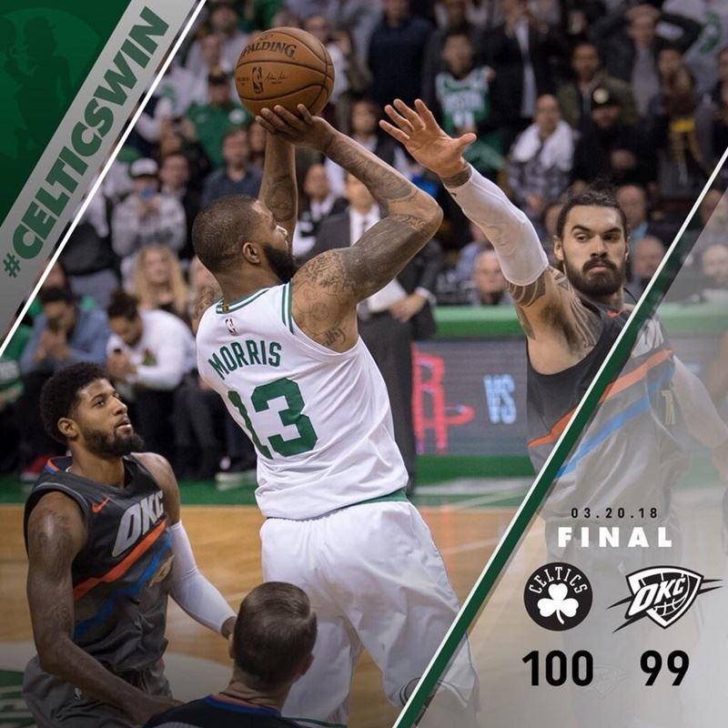NBA波士頓塞爾蒂克以100比99主場險勝奧克拉荷馬雷霆。(圖取自波士頓塞爾蒂克臉書www.facebook.com)