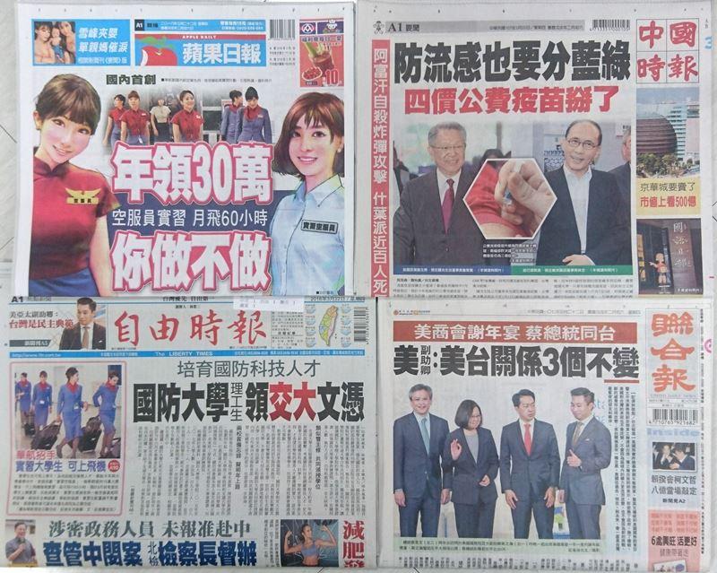 3月22日台灣各報頭條速報