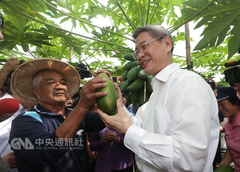 大陸國台辦前主任張志軍(前右),2014年6月底首次造訪台灣,並於27日與高雄杉林區果農見面,參訪木瓜果園。(資料照片)中央社 107年3月22日