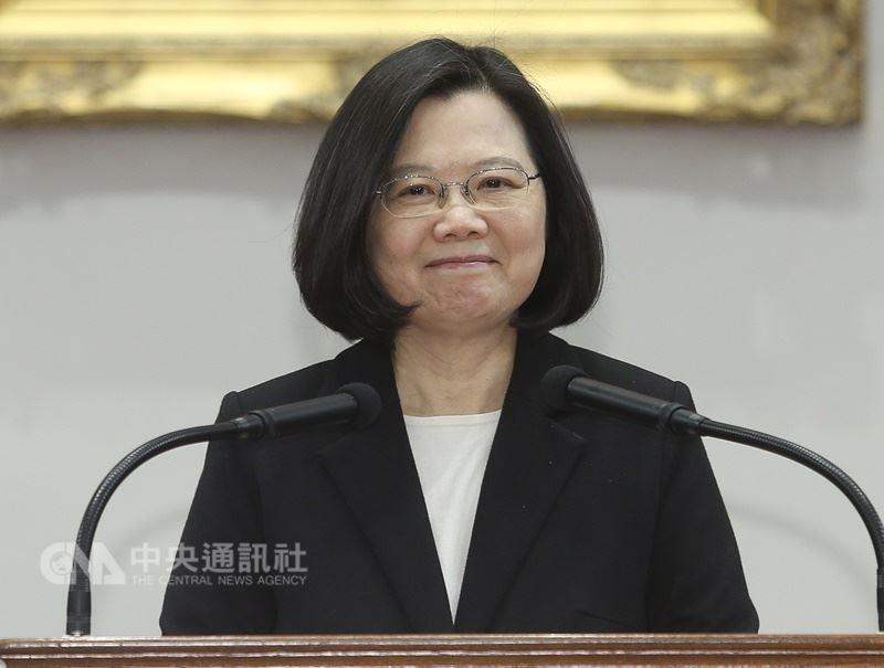 總統蔡英文23日針對中國大陸和美國貿易戰發表談話。 中央社記者謝佳璋攝  107年3月23日