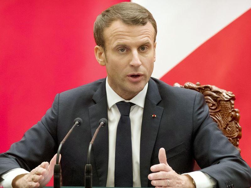 法國總統馬克宏表示,法國加入美英展開的行動,打擊敘利亞政權生產與使用化武的能力。(檔案照片/共同社提供)