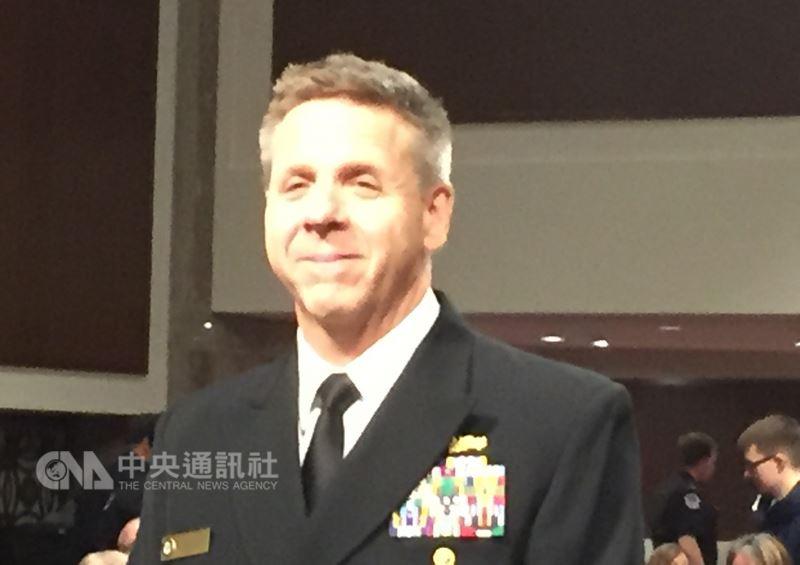 美軍太平洋司令提名人戴維森表示,美國國防部與太平洋司令部過去曾派遣軍官前往台灣,協助台灣改善自我防衛能力。未來他會繼續與國防部合作,派遣適當人士訪台。中央社記者江今葉華盛頓攝 107年4月17日