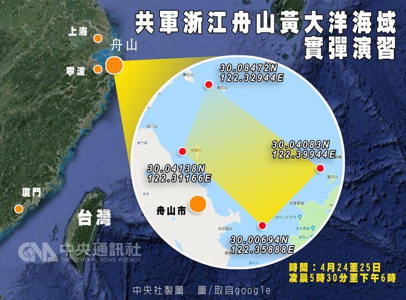 中國海事局21日再度發布實彈演習公告,表示解放軍24至25日將在浙江舟山黃大洋海域實彈演習。(中央社製圖)