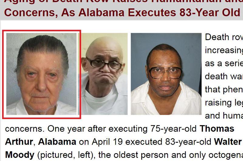 83歲死刑犯穆迪(紅框標註者)19日晚間在阿拉巴馬州伏法,創下美國現代史遭處決的最高齡死刑犯紀錄。(圖取自死刑資訊中心網頁deathpenaltyinfo.org)