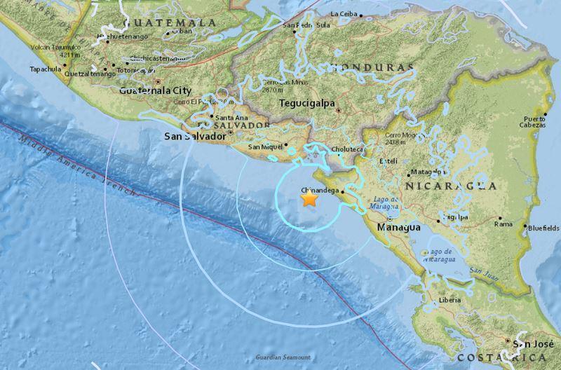 中美洲國家尼加拉瓜的太平洋沿岸外海23日發生地震,初估規模5.6,目前尚無災情傳出。(圖取自美國地質調查所網頁earthquake.usgs.gov)