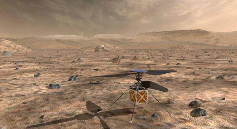 美國國家航空暨太空總署表示,計劃2020年送一架直升機到火星,這架「火星直升機」重量不到1.8公斤,主體或機身和壘球大小差不多。(圖取自NASA網頁nasa.gov)