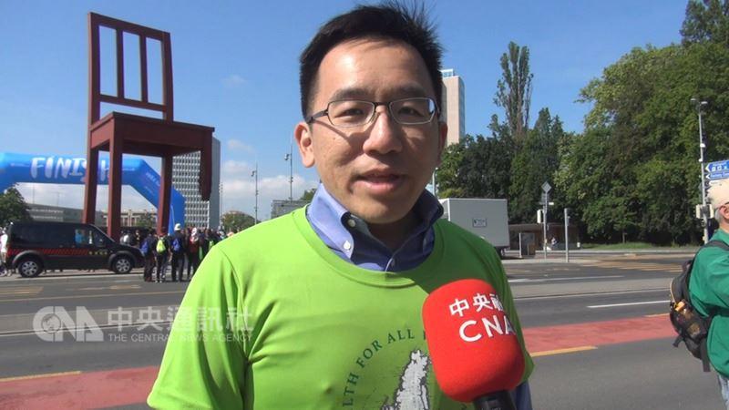 世界衛生大會(WHA)21日將登場,前總統陳水扁之子陳致中上午意外現身在日內瓦世衛健走活動,他表示前來聲援民間團體。中央社記者唐佩君日內瓦攝 107年5月20日