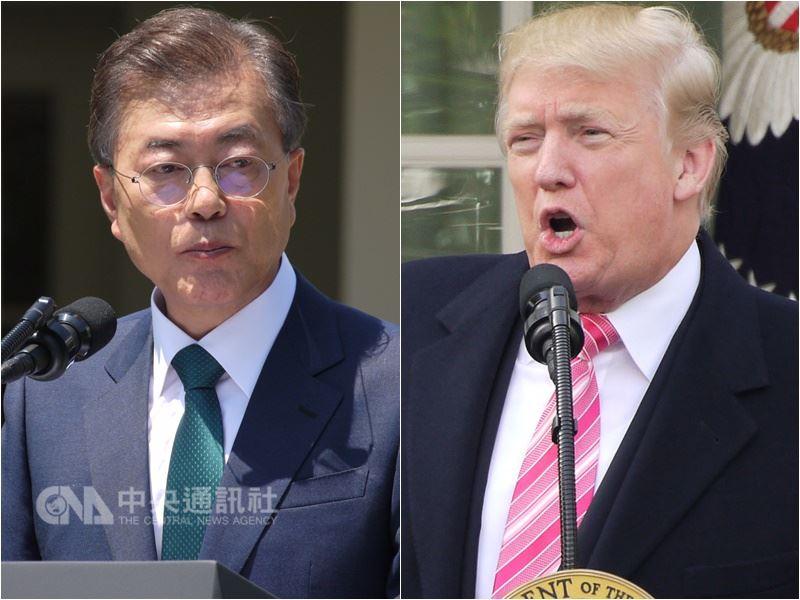 左為南韓總統文在寅,右為美國總統川普。(中央社檔案照片)
