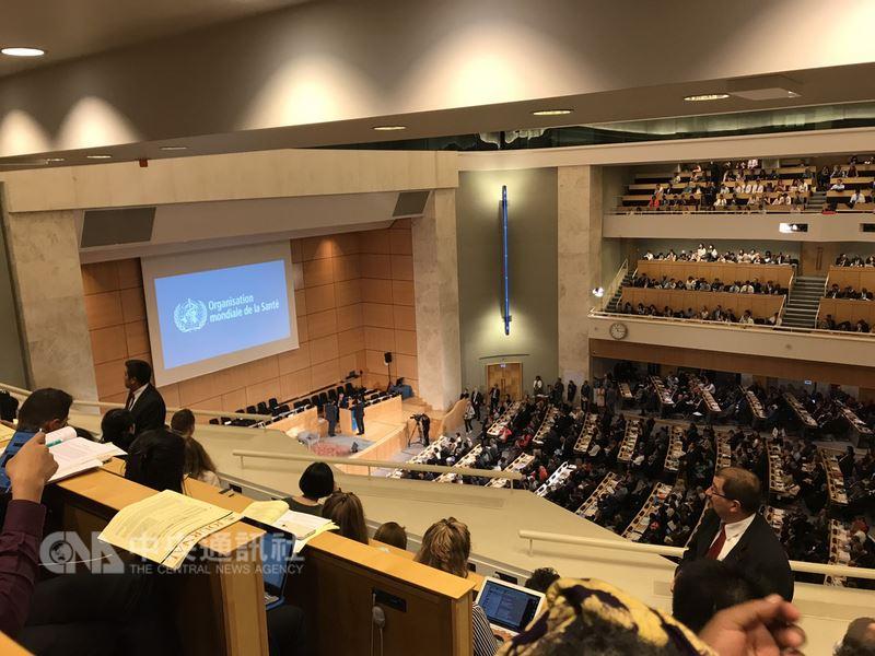 世界衛生大會(WHA)21日登場,外交部洽請各友邦為台灣向世界衛生組織(WHO)提案「邀請台灣作為觀察員參加WHA」,爭取在WHA全會上列入議程,但主席裁示不列入。(WHA採訪團提供)中央社記者戴雅真日內瓦傳真 107年5月21日