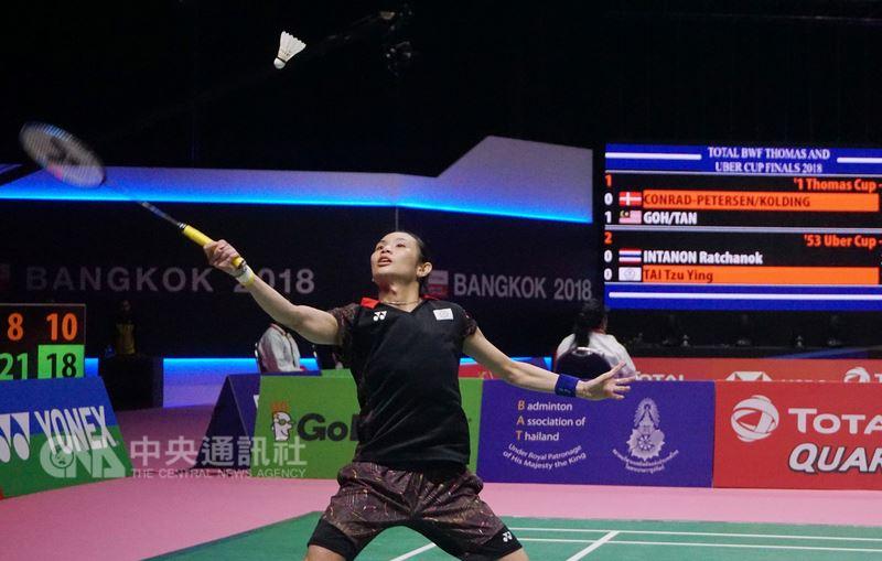 在泰國曼谷舉行的湯優盃羽球團體賽,中華女團23日出戰泰國,女單好手戴資穎頂著對手主場壓力,放開來打,終場贏對手拉差諾。中央社記者劉得倉曼谷攝 107年5月23日