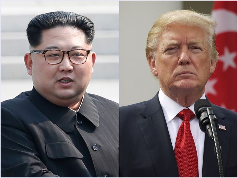 美國總統川普(右)24日取消原定6月與北韓領導人金正恩(左)舉行的高峰會。(圖左取自兩韓峰會共同採訪團、右為中央社檔案照片)