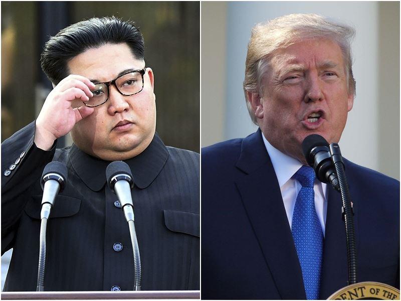 美國總統川普(右)24日取消原定6月與北韓領導人金正恩(左)舉行的高峰會,並警告北韓切勿妄動。(左圖取自兩韓峰會共同採訪團,右為中央社檔案照片)