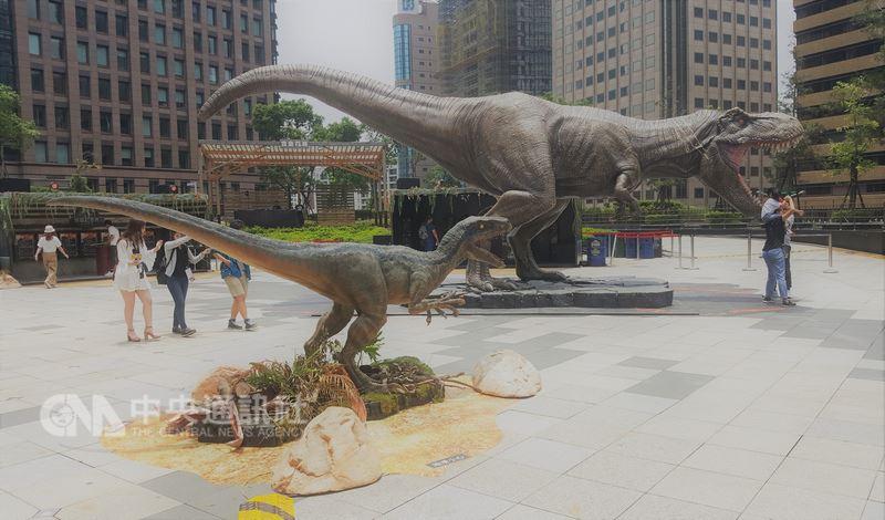 「侏羅紀公園:殞落國度」6月將在台上映,環球影業在台北以真實比例重現劇中代表性角色暴龍T-Rex與迅猛龍「小藍」(BLUE),其中T-Rex全長10.7公尺、高4.3公尺、重3.5噸,全由專業團隊手工打造。中央社記者廖禹揚攝 107年5月26日