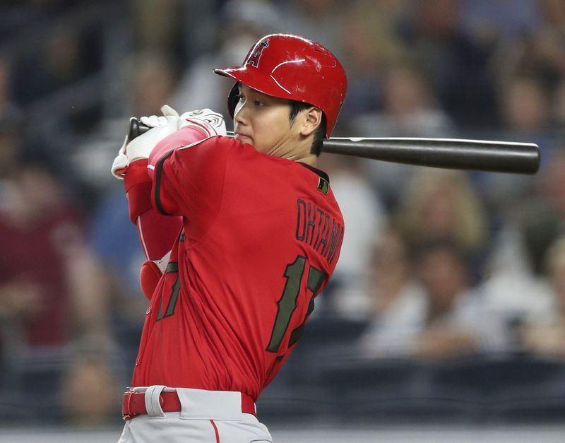 美國職棒MLB洛杉磯天使日籍球星大谷翔平作客紐約,26日4打數仍未敲安打,打擊率跌破3成。(共同社提供)