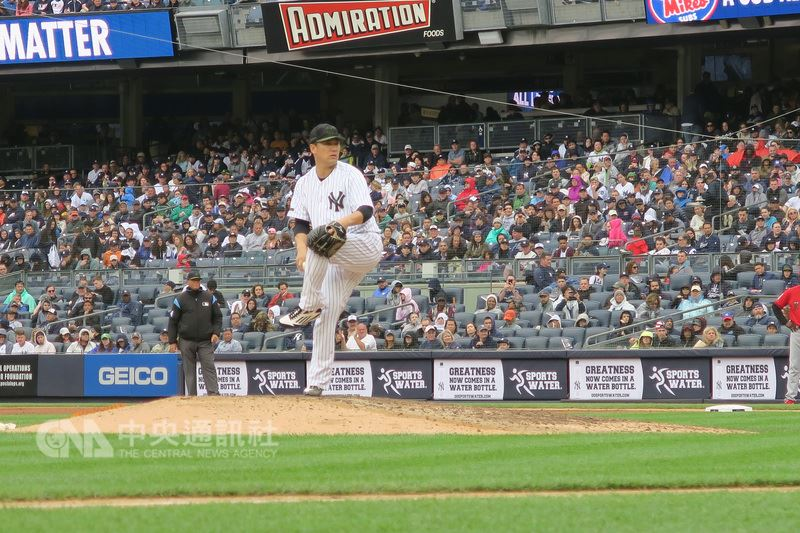 美國職棒大聯盟MLB紐約洋基日籍投手田中將大,美東時間27日對戰洛杉磯天使隊,投6局失1分,被敲3支安打,送出8次三振、3次保送,獲本季第6勝。中央社記者尹俊傑紐約攝  107年5月28日