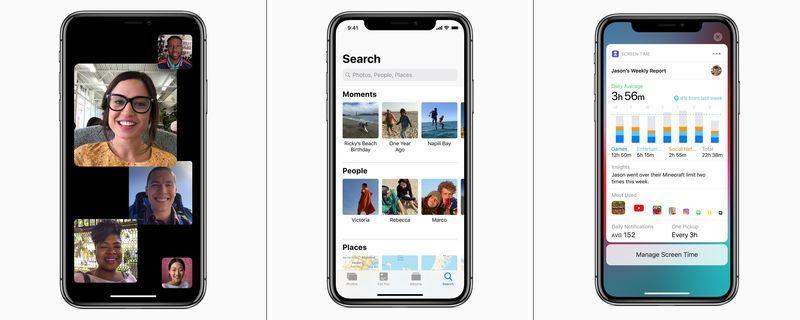 蘋果公司5日發表iOS 12作業系統,新增包含FaceTime團體視訊(左起)、照片App新標籤和Siri捷徑等8大功能。(圖取自Apple官網 www.apple.com)