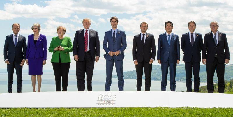 七大工業國集團(G7)高峰會9日在一片鬧哄哄的聲音中落幕,再度點燃全球貿易戰煙硝味。(圖取自G7推特twitter.com/g7)