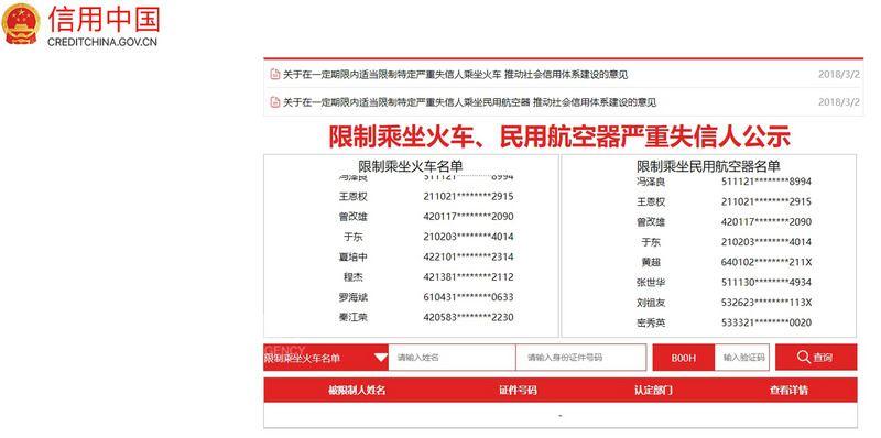 中國官方近日在信用中國網站上以跑馬燈方式公告「失信名單」,這些人將被禁止搭乘飛機、火車,時間自公告日起為期1年。(截取自信用中國網站)中央社 107年6月12日