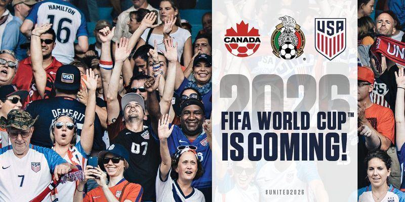 美國、加拿大和墨西哥合力獲得2026年世界盃足球賽主辦權,擊敗對手摩洛哥。(圖取自U.S. Soccer推特twitter.com)