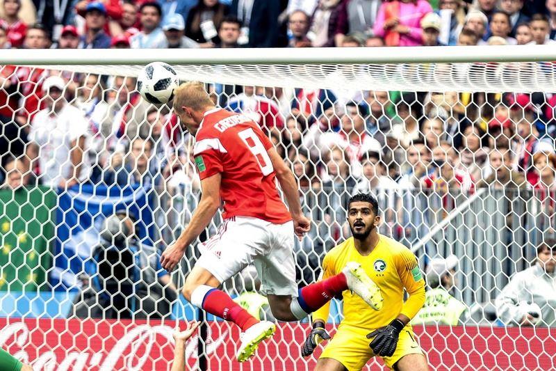 2018年世界盃足球賽地主國俄羅斯14日率先出戰沙烏地阿拉伯,展現旺盛攻擊火力,以5比0大勝沙國。(達志提供)