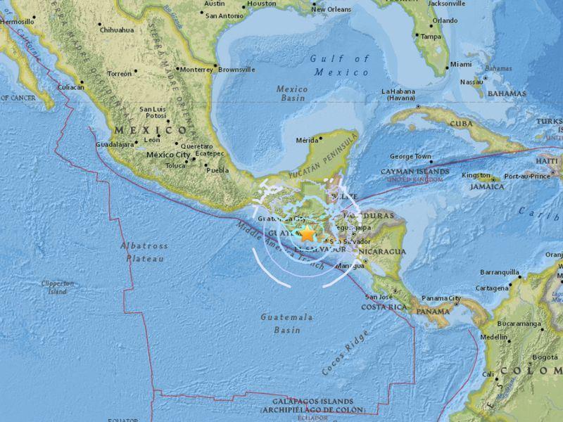 瓜地馬拉17日晚間發生規模5.6地震,震源深度100公里。(圖取自USGS網頁earthquake.usgs.gov)
