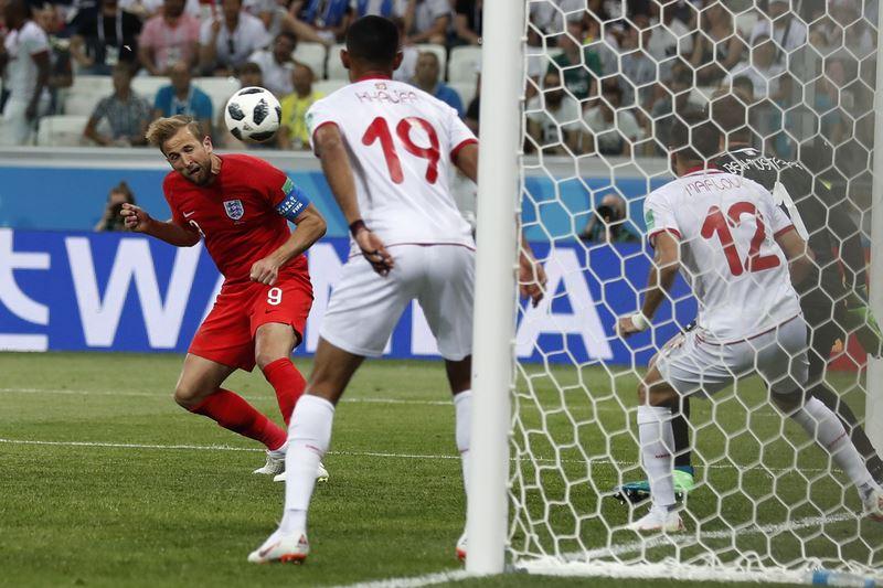 英格蘭18日在世界盃足球賽靠著鋒線殺神凱恩下半場傷停補時的絕殺,以2比1力克G組對手突尼西亞。(達志提供)