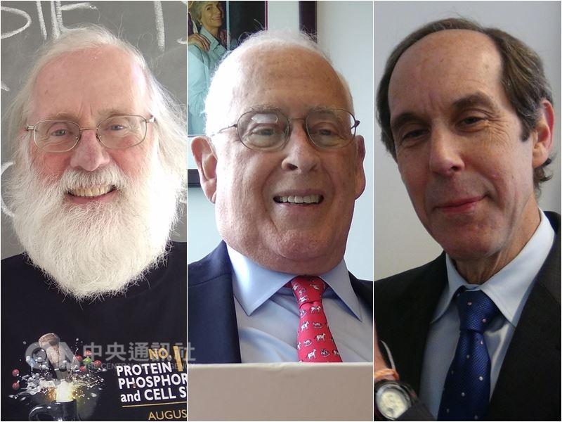 第3屆唐獎生技醫藥獎由3名科學家共享,分別為英裔美國生物學家東尼.杭特(左起)、美國癌症專家約翰.曼德森、美國腫瘤學家布萊恩.德魯克爾。中央社記者曹宇帆休士頓攝 107年6月19日