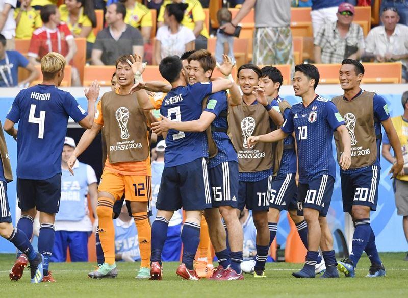 日本隊19日以2比1擊敗哥倫比亞。(檔案照片/共同社提供)