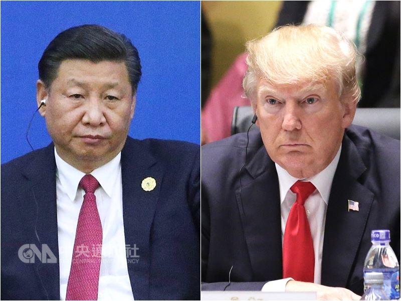 美國和中國的貿易糾紛不斷加深,白宮貿易顧問納瓦洛表示,相較於美國,中國會輸得更多。圖左起為中國大陸國家主席習近平、美國總統川普。(中央社檔案照片)