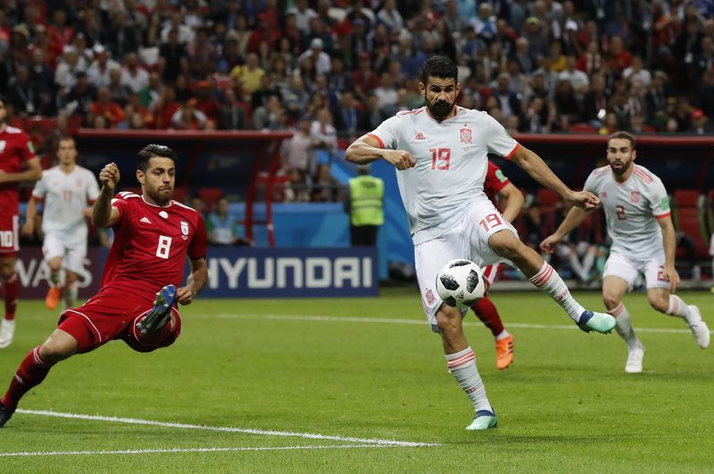 前鋒柯斯塔成為西班牙本屆世足賽幸運之星,前一場他對葡萄牙攻進2球,20日又幫助西班牙1比0擊敗伊朗。(達志提供)
