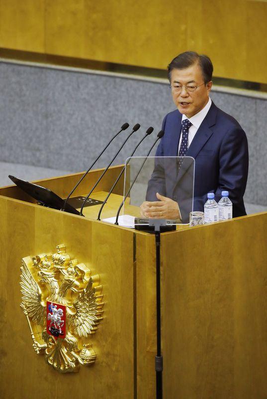 南韓總統文在寅21日在俄羅斯國會發表演講。(韓聯社提供)
