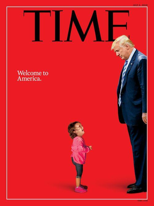 「時代」雜誌21日公布以2歲宏都拉斯女童身影與川普合成照,配上「歡迎來到美國」標題,做為7月2日號最新一期封面。(圖取自時代雜誌網頁time.com)
