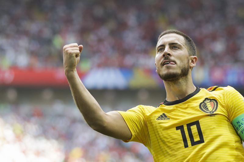 比利時23日再度展現強大進攻火力,終場5比2大勝突尼西亞,提前淘汰對手。圖為比利時球員哈札德。(達志提供)