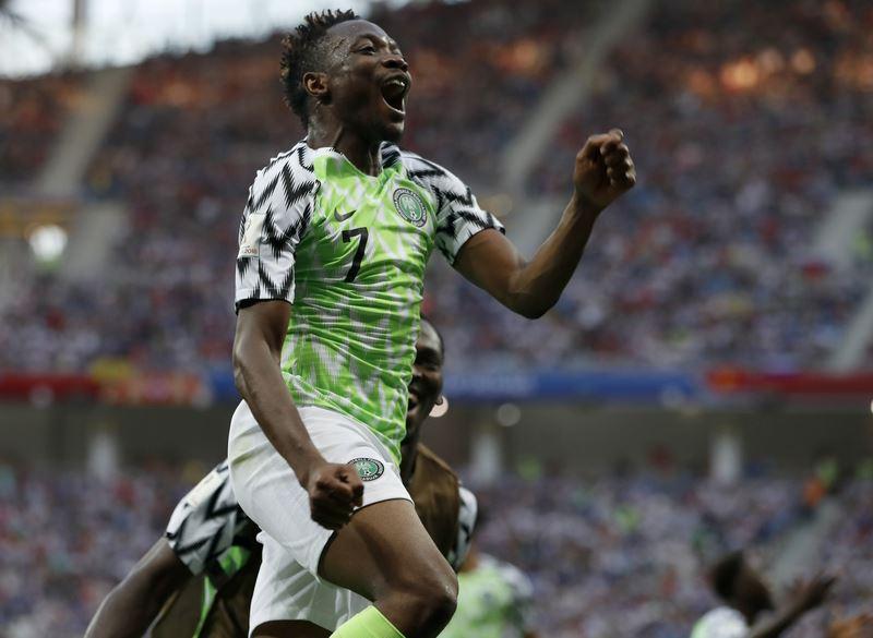 「非洲雄鷹」奈及利亞22日在世界盃D組賽2比0擊敗「維京戰士」冰島,穆薩踢進兩球成為獲勝大功臣。(達志提供)