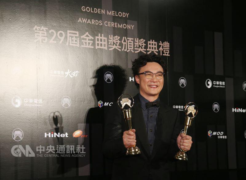 第29屆金曲獎頒獎典禮23日在台北小巨蛋舉行,歌手陳奕迅以專輯C'mon In~一舉奪得最佳國語男歌手獎與年度專輯獎。中央社記者張新偉攝 107年6月24日