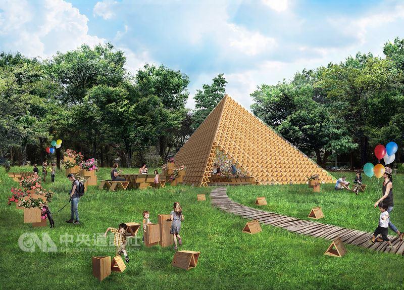台中市政府規劃在花博后里森林園區打造積木概念館,並由2020東京奧運主場館建築師隈研吾設計,以天然木頭材料、運用1450個三角積木堆疊搭建,建置兼具環保及舒適的空間,結合茶花打造具特色的藝術裝置。圖為模擬示意。(台中市政府提供)中央社記者蘇木春傳真 107年6月24日