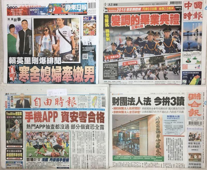 107年6月27日台灣各報頭條速報