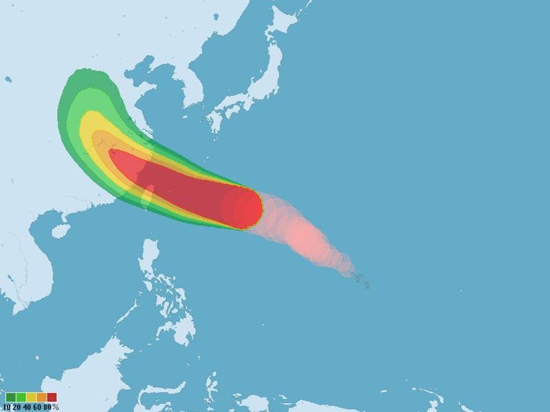 圖為颱風瑪莉亞9日上午8時起七級風暴風圈在未來120小時的侵襲機率。(圖取自氣象局網頁www.cwb.gov.tw)