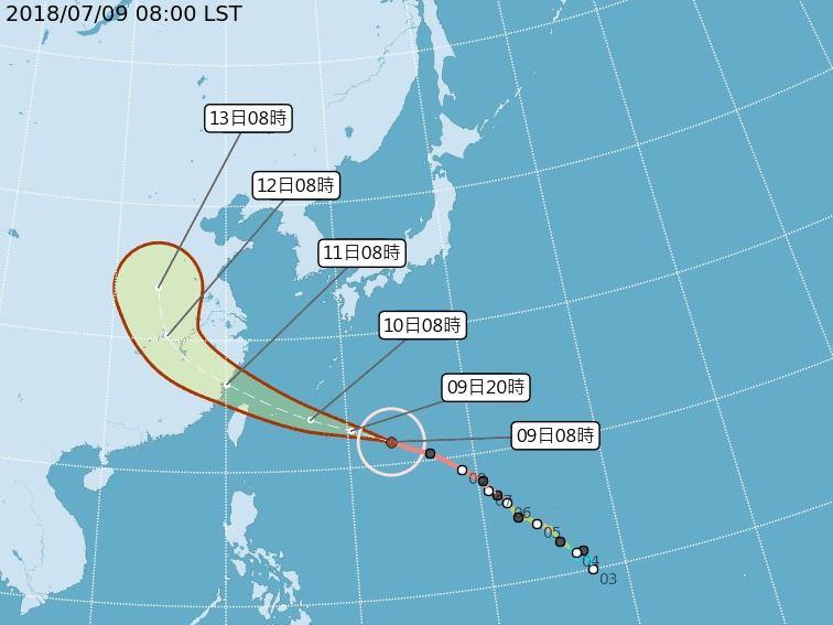 颱風瑪莉亞路徑潛勢預報圖。(圖取自氣象局網頁www.cwb.gov.tw)