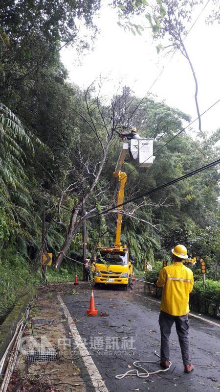 受瑪莉亞颱風影響,新竹縣五峰鄉羅山產業道路坍塌,樹木碰觸電線,台電正在搶修復電中。(台電提供)中央社記者郭幸宜傳真  107年7月11日
