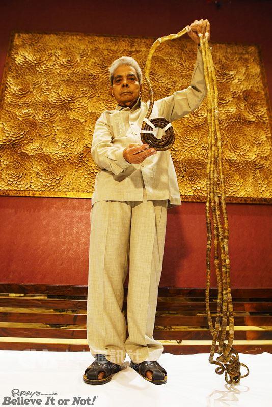 印度老翁奇拉爾16歲起留左手指甲,拇指指甲曾長到近2公尺,並捲成圓形。總長逾9公尺的指甲,讓他2015年獲金氏世界紀錄認證為「單手指甲最長的人」。(信不信由你博物館提供)中央社記者尹俊傑紐約傳真  107年7月12日