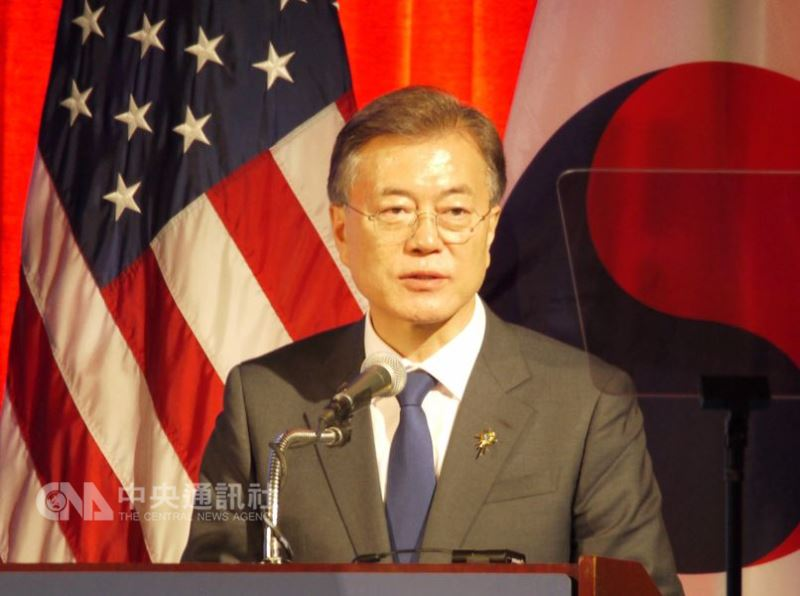 南韓總統文在寅表示,駐韓美軍是韓美同盟事務,不是北韓美國非核化談判的議題。(中央社檔案照片)
