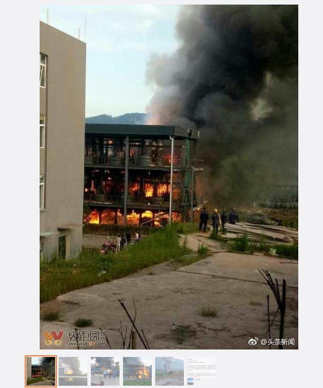 四川省宜賓江安縣的一家化學工廠12日晚間發生爆燃事故,已造成19死12傷。(圖取自頭條新聞微博www.weibo.com)