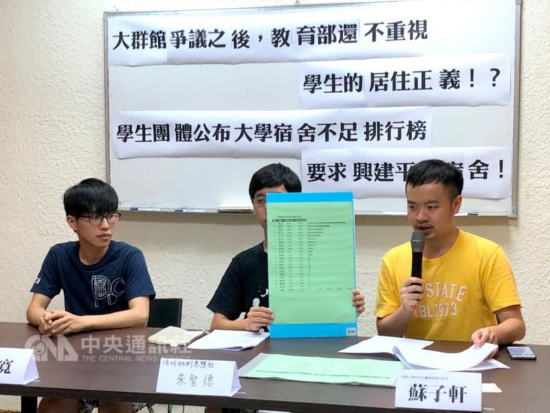高教工會、反教育商品化聯盟等團體14日在台北召開記者會,指文大宿舍爭議,反映台灣長期以來學生宿舍極度缺乏、居住權益受損的問題,呼籲重視學生的居住正義。中央社記者陳至中台北攝 107年7月14日