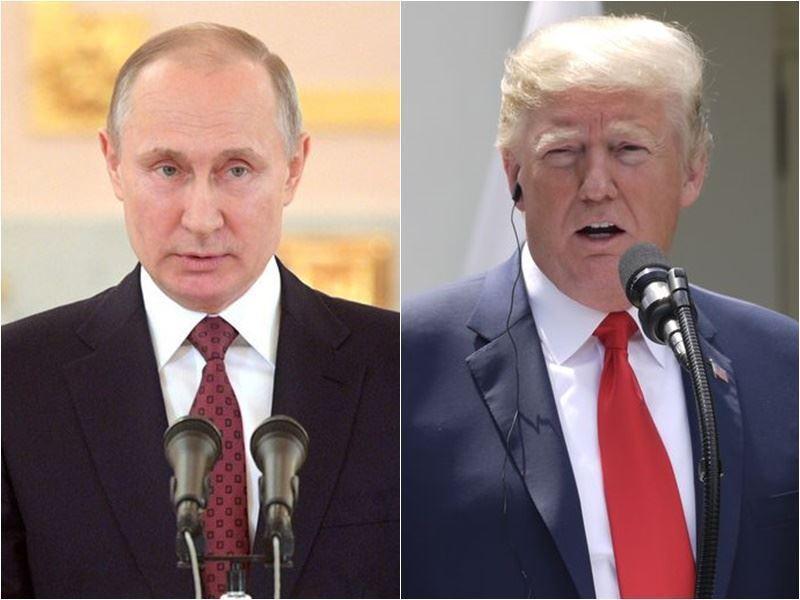 美國總統川普(右)15日抵達芬蘭首都赫爾辛基,準備16日與俄羅斯總統蒲亭(左)進行眾所矚目的峰會。(圖左取自蒲亭推特twitter.com/PutinRF_Eng、右為中央社檔案照片)