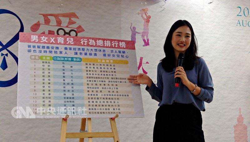 台北市民政局18日邀請親職專家分享男女育兒行為的差異;意藍資訊分析師曹竣甯指出,分析網路聲量可看出,男性普遍認為,帶小孩的主要責任仍落在老婆身上。中央社記者陳妍君攝 107年7月18日