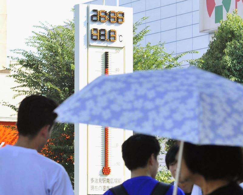 日本岐阜縣多治見市18日下午觀測到逾攝氏40度的高溫。(共同社提供)