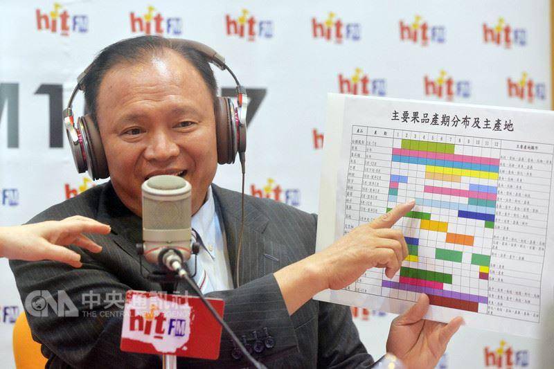 農委會主委林聰賢19日接受電台訪問,拿出準備好的看板,說明產銷失衡的現象和應變措施。中央社記者孫仲達攝  107年7月19日